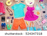 ready for travel. overhead of... | Shutterstock . vector #524347318