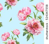 Stock photo romantic seamless pattern with watercolor bouquet of pink peonies for backgrounds textiles 524347558