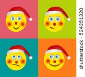 a set of funny smiles in santa... | Shutterstock .eps vector #524351320