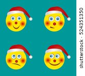 a set of funny smiles in santa... | Shutterstock .eps vector #524351350