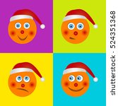 a set of funny smiles in santa... | Shutterstock .eps vector #524351368