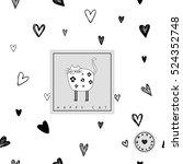 happy cat card   seamless... | Shutterstock .eps vector #524352748