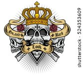 gothic coat of arms with skull  ... | Shutterstock .eps vector #524353609