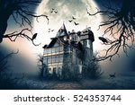 haunted house with dark horror... | Shutterstock . vector #524353744
