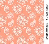 seamless pattern with floral... | Shutterstock .eps vector #524364850