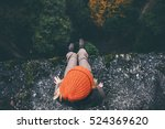 woman traveler sitting on cliff ... | Shutterstock . vector #524369620