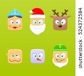 christmas emoticons | Shutterstock .eps vector #524372584