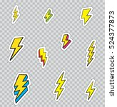 patch badges with lightning....   Shutterstock .eps vector #524377873
