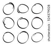 set hand drawn ovals  felt tip... | Shutterstock .eps vector #524379028