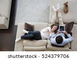 couple using digital tablet at... | Shutterstock . vector #524379706