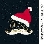 merry christmas golden handmade ... | Shutterstock .eps vector #524381140