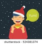 happy boy wearing red xmas hat... | Shutterstock .eps vector #524381374