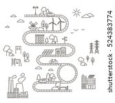 eco city in linear style  ... | Shutterstock .eps vector #524383774