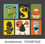 set of six retro postage s... | Shutterstock .eps vector #524387320
