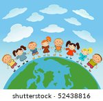 cartoon earth with kids. | Shutterstock .eps vector #52438816