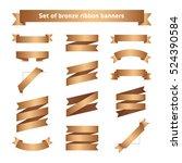 set of bronze ribbon banners....   Shutterstock .eps vector #524390584
