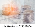 double exposure of coins on... | Shutterstock . vector #524392804