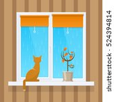 cat on the window  the autumn | Shutterstock .eps vector #524394814