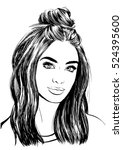 girl with stylish messy hair bun | Shutterstock .eps vector #524395600