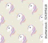 seamless pattern with unicorn ... | Shutterstock .eps vector #524395618
