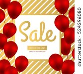 sale banner design. golden... | Shutterstock .eps vector #524396080