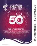 christmas offer template design ... | Shutterstock .eps vector #524396629
