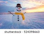 Snowman On Orange Sunset...