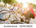 group of trendy friends having... | Shutterstock . vector #524415820