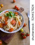 spaghetti with tomato sause and ... | Shutterstock . vector #524417824