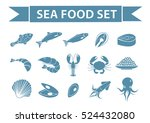 sea food icons set vector ... | Shutterstock .eps vector #524432080