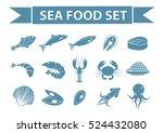 sea food icons set vector ... | Shutterstock .eps vector #524432080