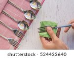 female hand cleaning spotty... | Shutterstock . vector #524433640