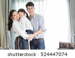 asian family portrait with... | Shutterstock . vector #524447074