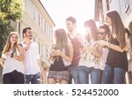 happy group of friends in the...   Shutterstock . vector #524452000