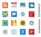 basic flat icon set for web and ...