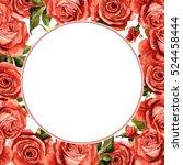 wildflower rose flower frame in ... | Shutterstock . vector #524458444
