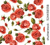 wildflower rose flower pattern... | Shutterstock . vector #524458558