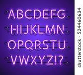glowing neon violet alphabet.... | Shutterstock .eps vector #524460634