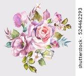 watercolor pink flowers bouquet ... | Shutterstock . vector #524462293