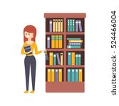 library or bookstore with young ... | Shutterstock .eps vector #524466004