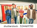 group of multiracial hipster... | Shutterstock . vector #524469700