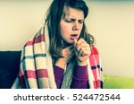 sick woman with cough and flu... | Shutterstock . vector #524472544