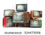 heap of retro tv sets isolated... | Shutterstock . vector #524475058