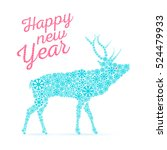 happy new year. christmas deer. ... | Shutterstock .eps vector #524479933