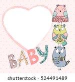 Stock vector cute hand drawn frame with cartoon owl 524491489