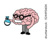 isolated brain with flask design | Shutterstock .eps vector #524493604