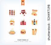 set of vector flat fast food... | Shutterstock .eps vector #524497198