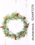 wreath of dill and hot pepper... | Shutterstock . vector #524497270
