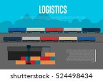 logistics banner with freight... | Shutterstock .eps vector #524498434