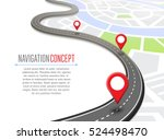 navigation concept with pin... | Shutterstock .eps vector #524498470